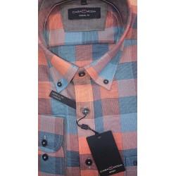 Koszula bawełniana męska w kratę pomarańczowo niebieską